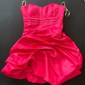 Dresses & Skirts - Hot Pink Satin Mini Prom Dress
